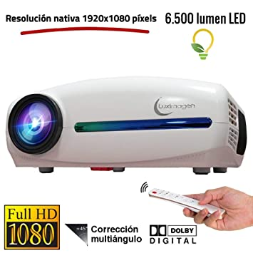 Proyector Full HD 1080P, Luximagen FUHD200 (1920x1080) 6.500 lúmenes LED, Proyector Maxima luminosidad Portátil LED Cine en casa AC3 HDMI USB MKV Sin ...