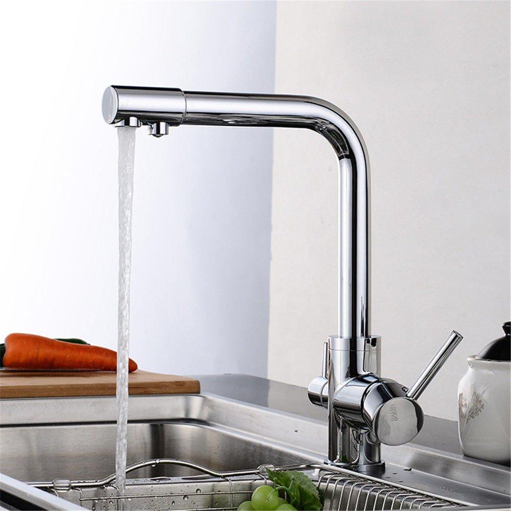 MEIBATH Waschtischarmatur Badezimmer Waschbecken Wasserhahn Küchenarmaturen Messing 3 Reines Warmes und Kaltes Wasser Ventil verchromt Messing Handgriff schwenken Küchen Wasserhahn Badarmatur