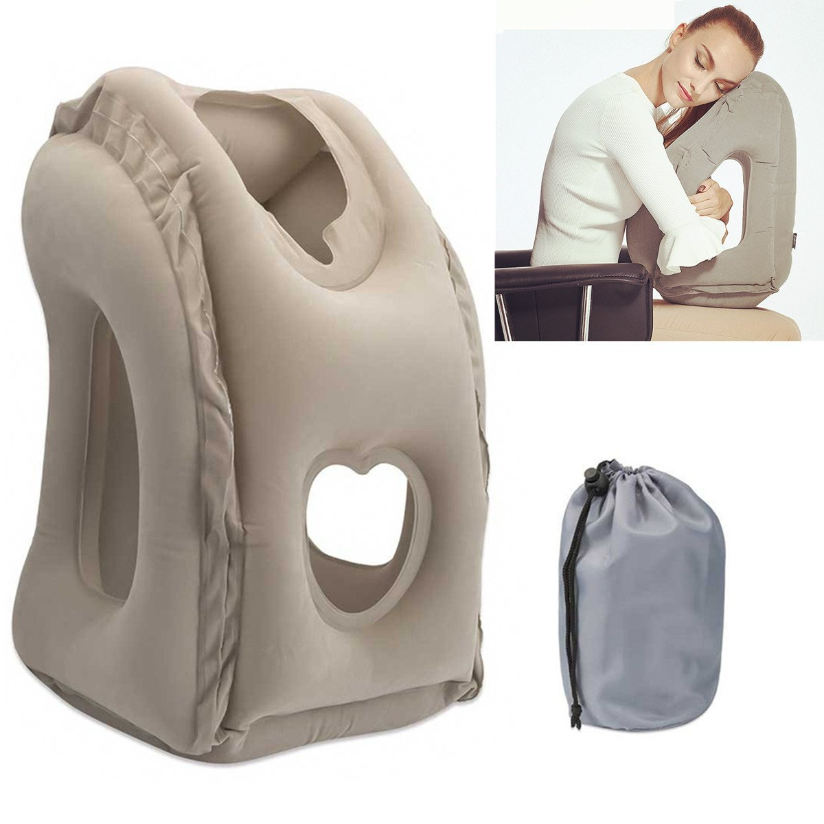 Inflatable Travel Pillow,SGODDE Comfortable Ergonomic and Portable Head Neck Rest Pillow,Patented Design,Best Travel Pillow for Airplanes,Cars,Buses, Trains, Office Napping, Camping 589D836B6B7B8FED