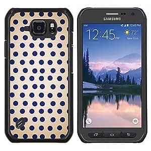 Caucho caso de Shell duro de la cubierta de accesorios de protección BY RAYDREAMMM - Samsung Galaxy S6Active Active G890A - Modelo de lunar Spots Azul Blanco Retro