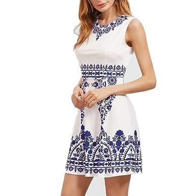 Dreamskull Kleid Damen Fraunen Mädchen Sommer Gesundes Gewebe Ärmellos  Elegant Partykleid Cocktailkleid Knielang Blauweißes Porzellan ( 14d117fa34