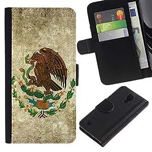 """JackGot ( Eagle Hawk Crest"""" ) Samsung Galaxy S4 IV I9500 la tarjeta de Crédito Slots PU Funda de cuero Monedero caso cubierta de piel"""