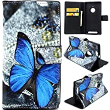 Lumia 830 Case,Nokia 830 Case,Gift_Source Gift_Source [Stand Feature] Case Wallet [Wallet S] Premium Wallet Case Flip Cover for Nokia lumia 830 Case -Blue Butterfly Pattern ,Sent Screen Protector + Stylus Pen