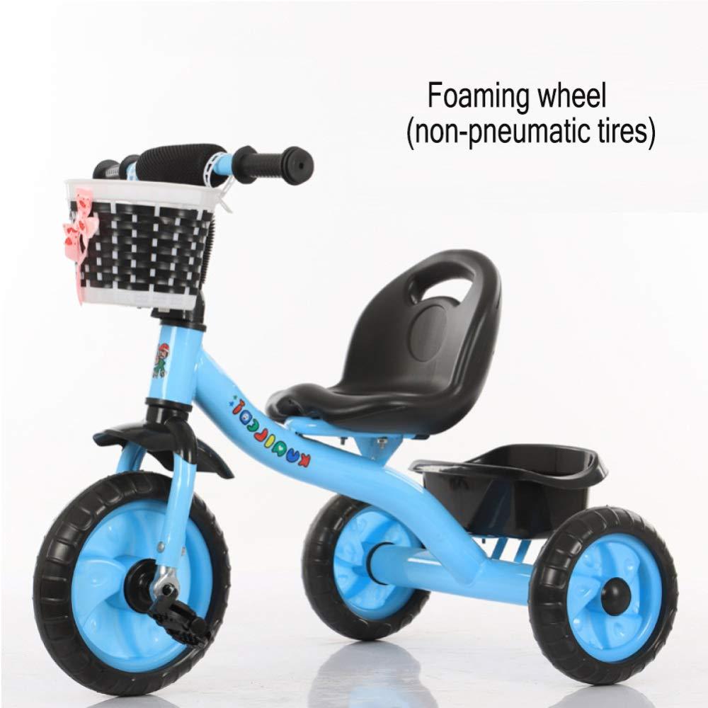 GIFT Dreirad Kinder Fahrrad 3 Rad Fahrrad Kinderwagen Kinderwagen, Abnehmbare Schubstange, Eva Weißhes Rad, 2-6 Jahre Alt Spielzeug Geschenk,C A