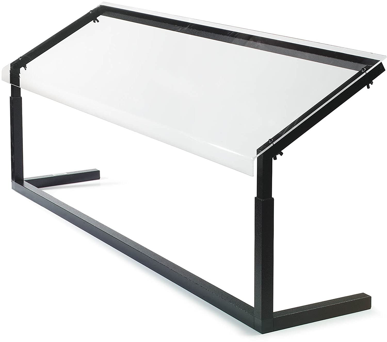 Carlisle 924803 Acrylic Adjustable Single-Sided Sneeze Guard with Aluminum Frame, 48-1/4 x 12.44