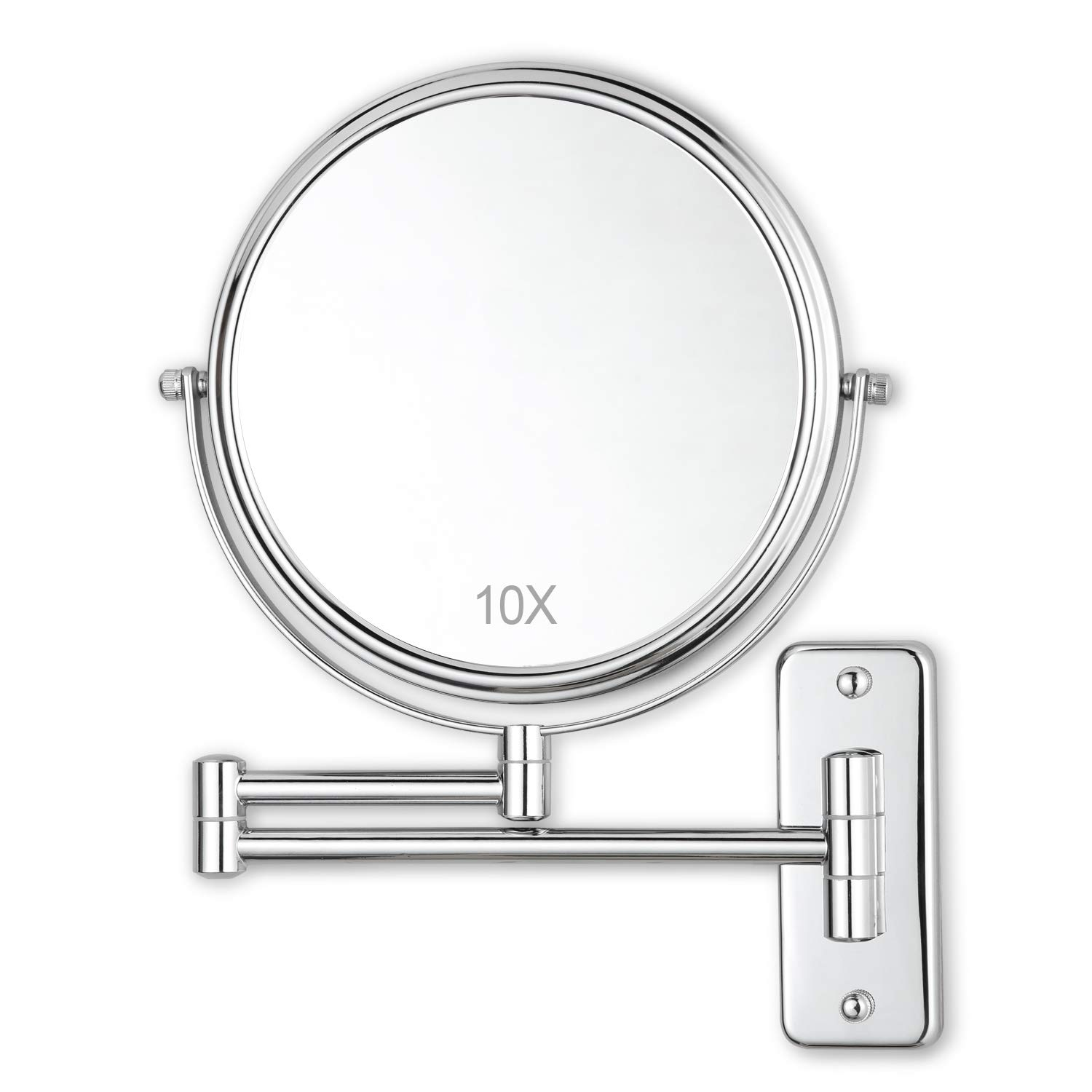 DECLUTTR 8 Inch Wall Mounted Makeup Mirror with 10x Magnification, Double Sided Vanity Magnifying Mirror for Bathroom, Chrome Finished