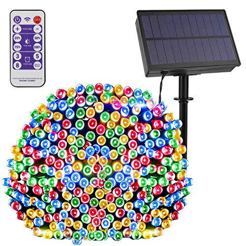 【Remote Control/Timer/Dimmable】 LEOHOME Solar String Light Outdoor Waterproof, 8 Lighting Modes 72ft/200 LED Christmas Lights for Halloween Garden Backyard Patio Festival Wedding Décor (Multi)