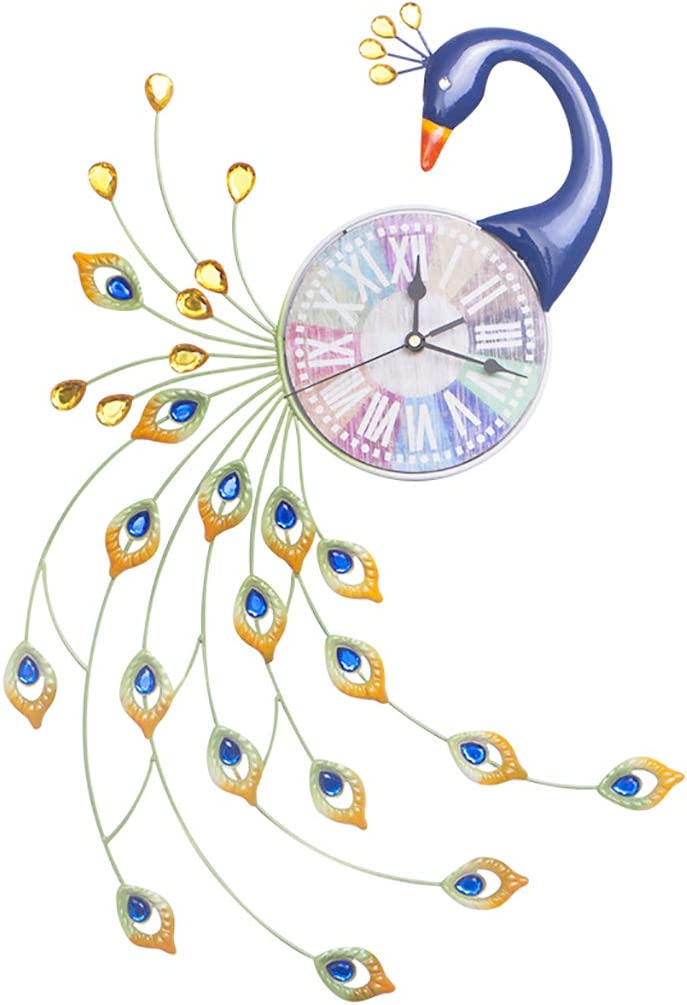 WALL CLOCK 1 Reloj De Pared Peacock Mute DecoracióN De Pared Creativa Inicio Reloj De Hierro Forjado Silencioso, Esfera De Madera (TamañO: 32 Cm * 62 Cm)