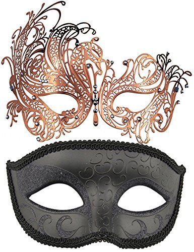 (Coddsmz 2 Pack Set Masks Masquerade Ball Halloween Costumes Mardi Gras Party Mask for Men and)