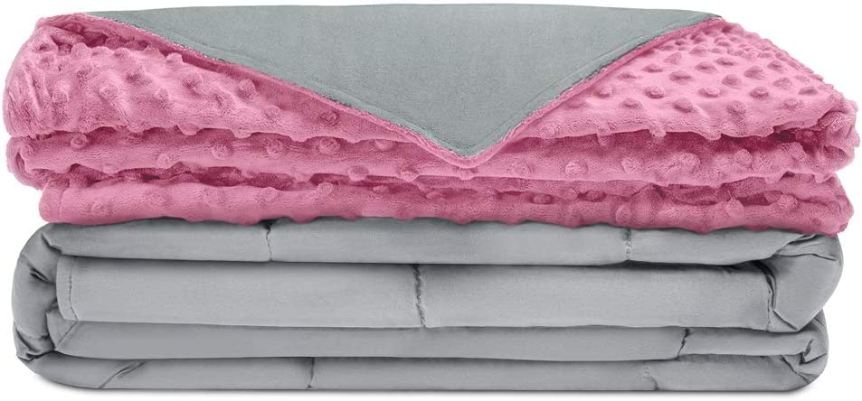 """Quility Premium Adult Weighted Blanket & Removable Cover   25 lbs   60""""x80""""   for Individual Between 240-280 lbs   Full Size Bed   Premium Glass Beads   Cotton/Minky   Grey/Pink"""