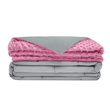 Quility Premium Adult Weighted Blanket & Removable Cover | 15 lbs | 60 x80  | for Individual Between 140-190 lbs | Full Size Bed | Premium Glass Beads | Cotton/Minky | Grey/Pink
