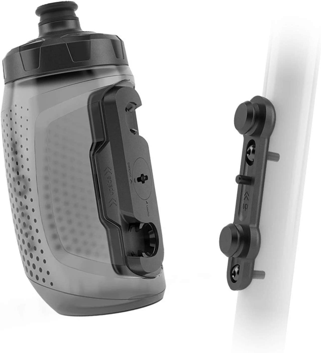 Fidlock TWIST Bottle 450 Set- Bike Water Bottle Holder with Attached Bottle - Cage Free Magnetic Mount - Smoke