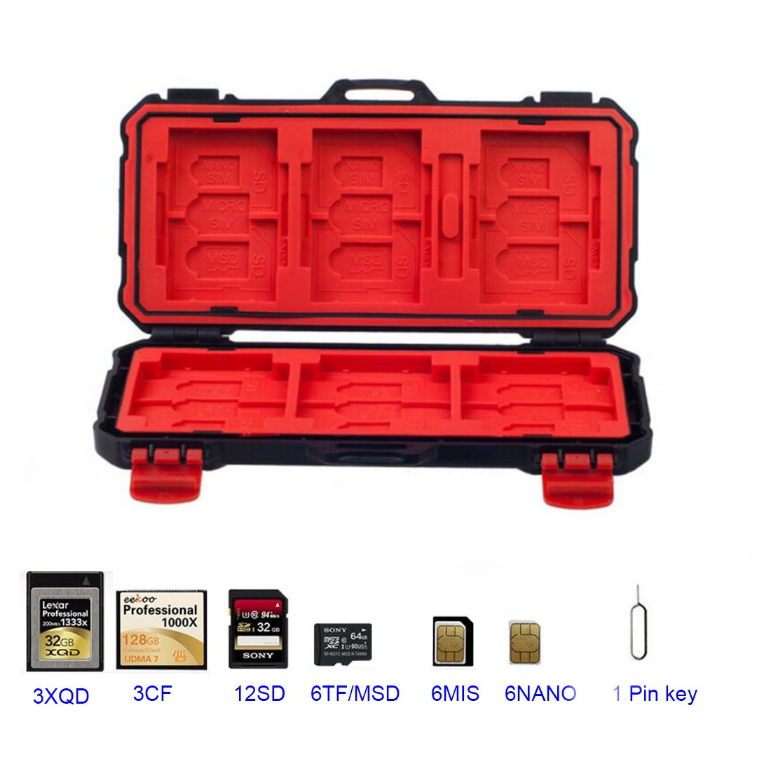 LXH LYNCA Memory Card Case Holder SD/CF/MSD/XQD/TF/SDHC SDXC Micro SD Card Storage Box Camera Cartridge Waterproof and Anti-dust Box With Carabiner For 12SD+3CF+3XQD+6TF+6MIS+6NANO (For 36 Slots)
