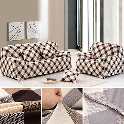 ANJUREN 1-Piece Printed Stretch Slipcover Soft Furniture Shield Protector Covers Anti-wrinkle Slipcovers For Chair Loveseat Sofa Polyester Spandex Fabric Without Pillow (Sofa, Grid) (Shield Chair)
