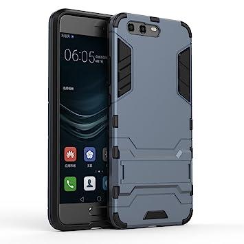 Huawei P10 Plus Funda, Panphy Híbrida de Silicona + Polycarbonato Doble Resistencia, y soporte Carcasa cover para Huawei P10 Plus - Azul oscuro
