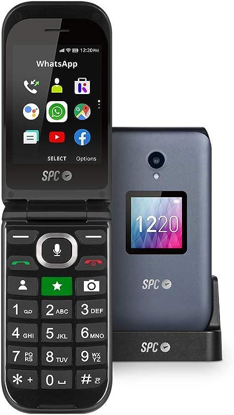 SPC Jasper Teléfono Móvil 4G con Whatsapp y Botón Sos para Personas Mayores, Gris/Negro