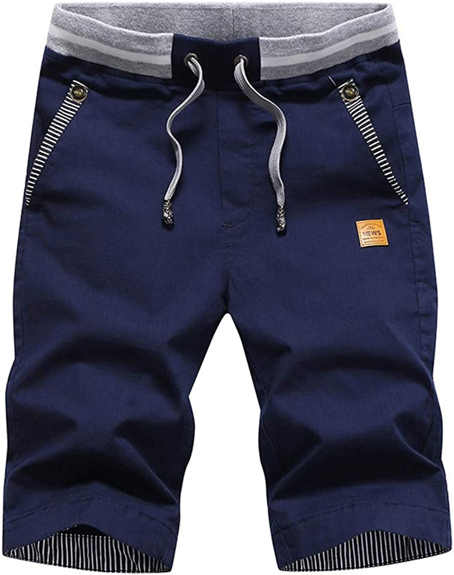 VWU Mens Shorts Casual Slim Fit Summer Beach Shorts with Elastic Waist,Drawstring and Pockets