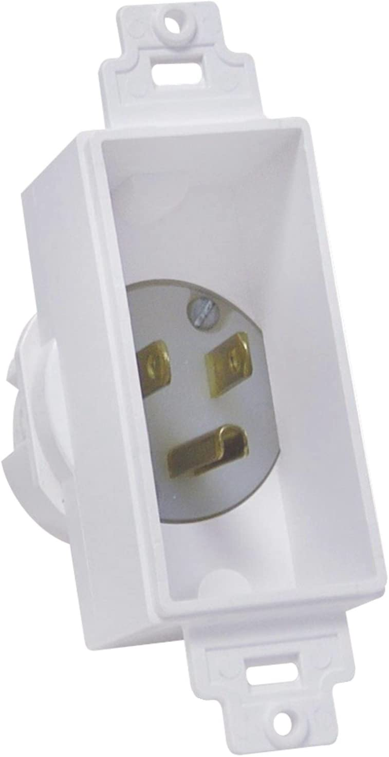 MIDLITE 4642-W Single Gang Décor Recessed Power Inlet
