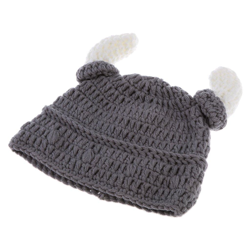 MagiDeal Viking Chapeau Tricot Corne Ox Bonnet Costumes Cosplay Photographie Laine - Enfant/Adulte