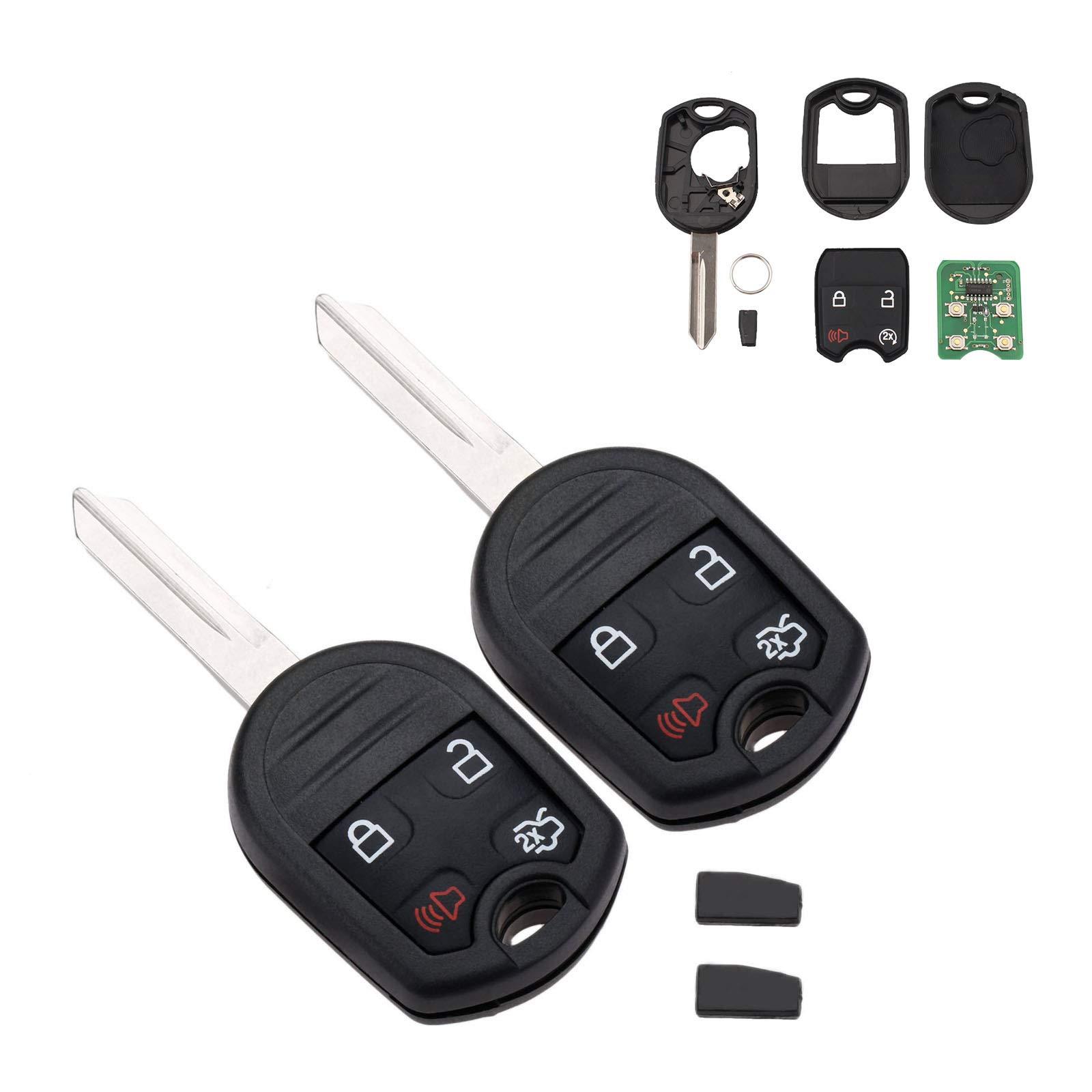 2 PC Car Key Fob Keyless Entry Remote Start, CWTWB1U793 4 Buttons 315 MHz  Car Remote Key Fit for Ford 11-16 F150 250 350 450 Explorer