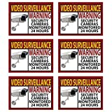 car vandalism surveillance camera - 6 Pack Video Surveillance Sticker Bright Yellow and Red Best for Home and Business for Indoor/Outdoor Use Long Lasting Weather Proof Window & Door Security 3x4in. FREE 1yr Warranty Made in the USA