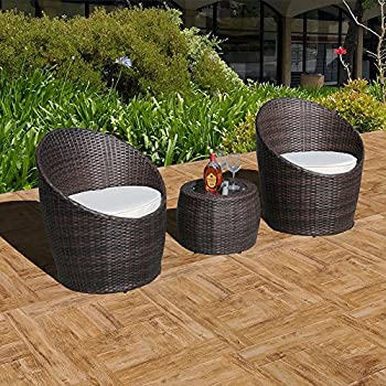 patioroma 3 piece wicker patio set outdoor cushioned rattan furniture set brown