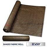 Windscreen4less Brown Sunblock Shade Cloth,95% UV Block Shade Fabric Roll 6ft x 50ft