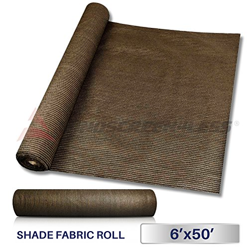 Windscreen4less Brown Sunblock Shade Cloth,95% UV Block Shade Fabric Roll 6ft x 50ft (Shades Patio Sun Roll Down)