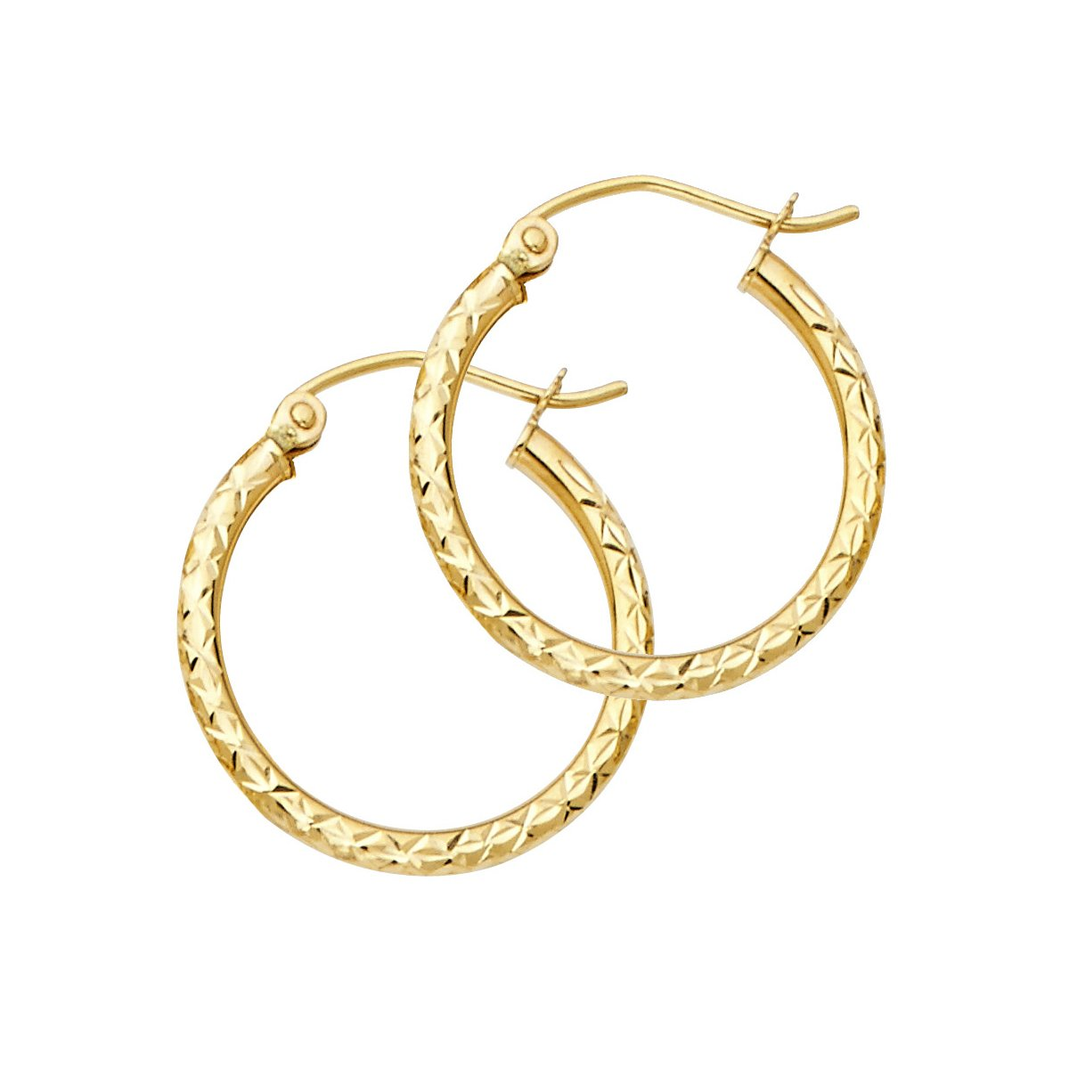 14K Yellow Gold 1.5mm Hoop Earrings - 33/25/20/15mm (Diameter - 20 MM)