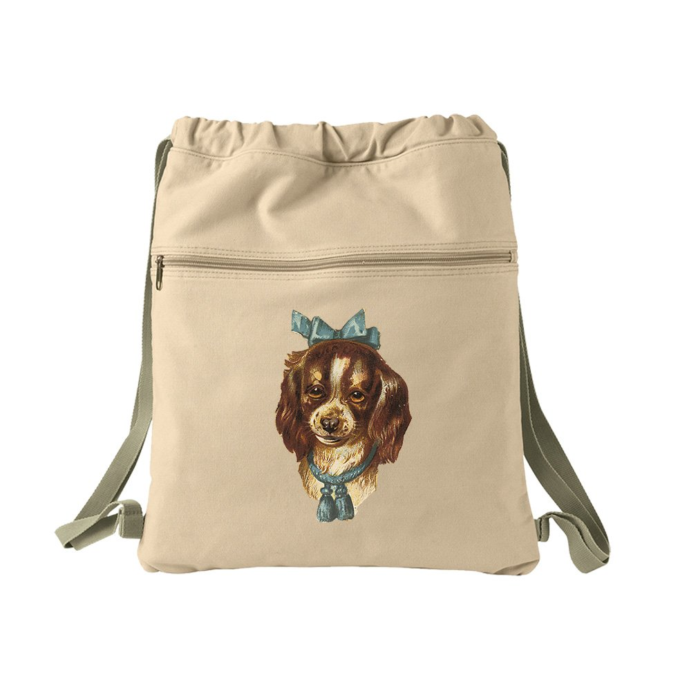 Cocker Spaniel Puppy Blue Bow Animals Canvas Dyed Sack Backpack Bag