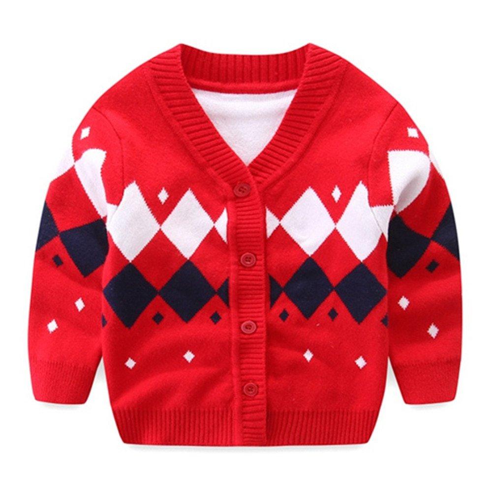 Iridescentlife Baby Boys Sweater Cardigan, Knitted Organic Cotton Button Crochet for Newborn Baby