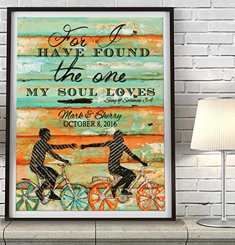 PERSONALIZED For I have found the One my Soul loves -UNFRAMED ART PRINT, Songs of Solomon 3:4 - Biking Bicycle Cycling wall decor poster wedding engagement Anniversary gift for her