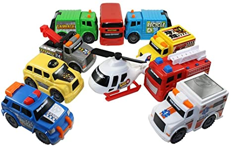 Review Toy State Emergency City Vehicles set of 10- Police, Fire Truck, Ambulance, Action News Helicopter, Taxi, Bus, Recycle, Garbage & Tow Trucks - all Free-Wheeling some with Moving Parts Imagination Play