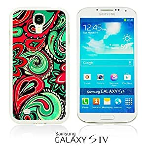 OnlineBestDigital - Fabric Pattern Hard Back Case for Samsung Galaxy S4 IV I9500 / I9505 - Red And Green Paisley