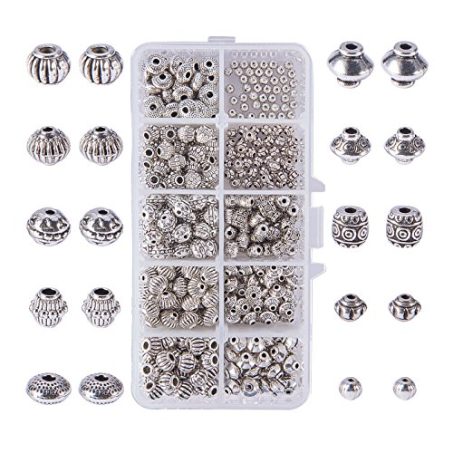 (PH PandaHall 450pcs 10 Styles Antique Silver Tibetan Alloy Bicone Barrel Spacer Beads Bali Lantern Metal Spacers for Bracelet Necklace Jewelry Making Findings Accessories)
