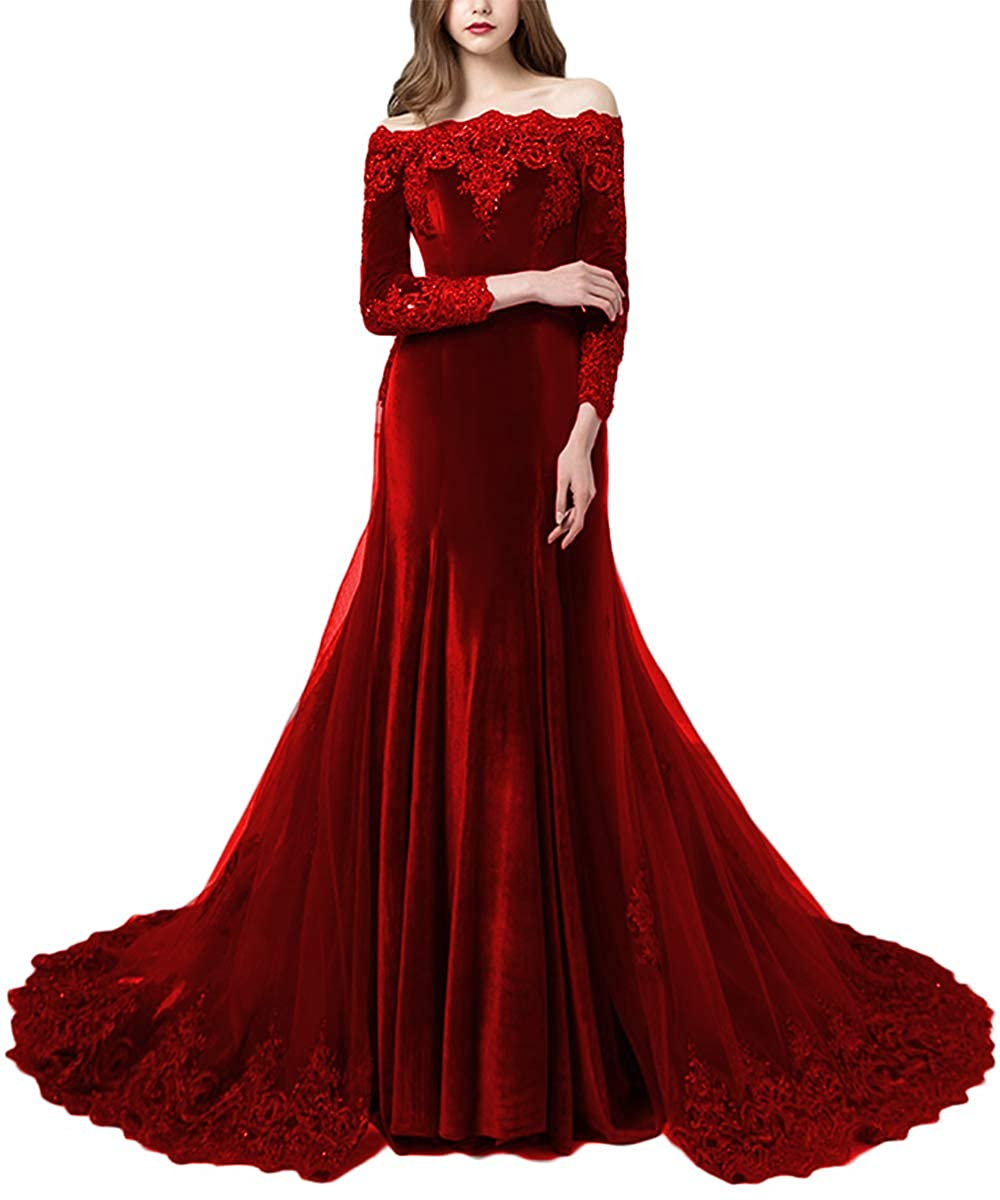 Red Promworld Women's Off the Shoulder Velvet Evening Dress with Sleeves Applique Beaded Formal Prom Dress