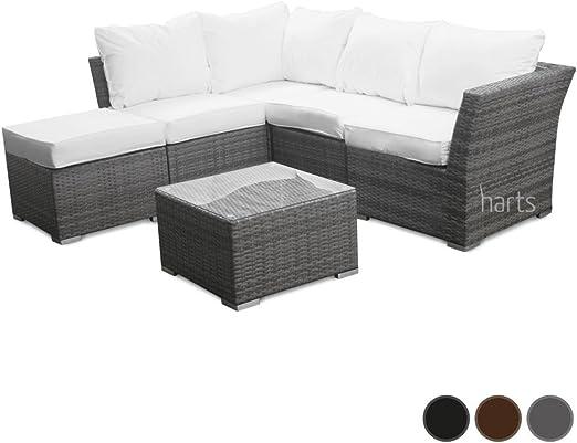 Sofá modular esquinero de ratán Roe Garden de excelente calidad, para terraza, jardín, muebles de jardín, Grey Sofa Set with Cover: Amazon.es: Jardín