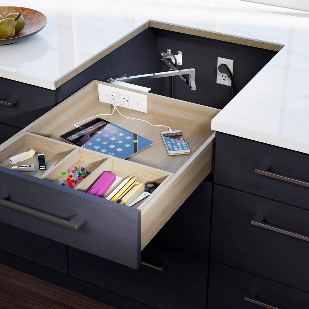 Docking Drawer | Blade In-Drawer Charging Outlet | 2 AC and 2 USB-A ports | White | Easy to Install
