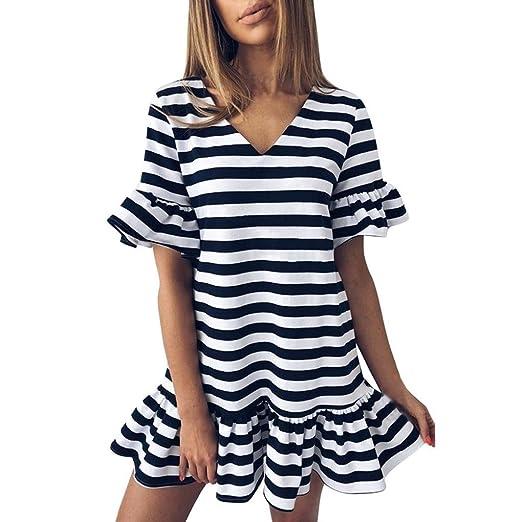 4dbeb884e06cb Lelili Women Fashion Dress for Party Sexy Striped Flare Short Sleeve ...