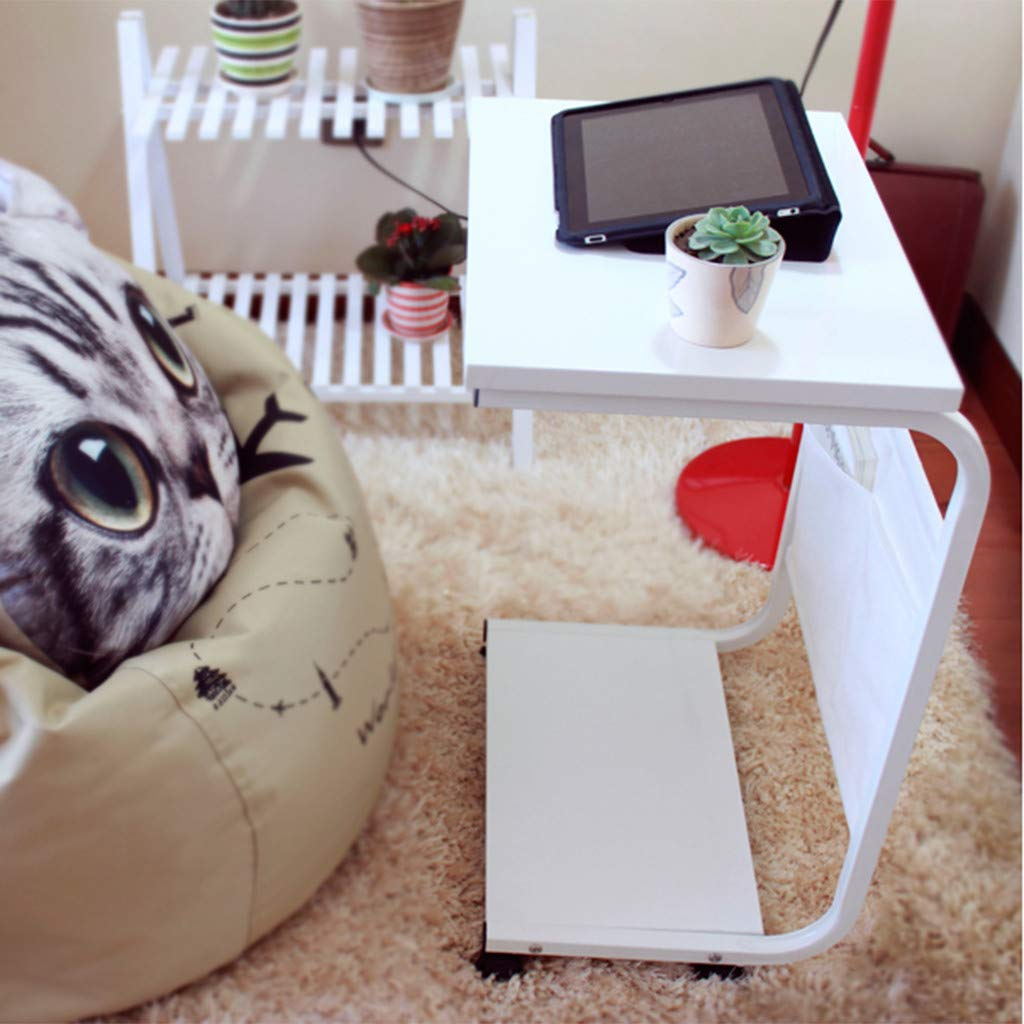 Removable Small Laptop Table Simple Coffee Table Sunsee Wheel Movement Computer Desk wiht Two Hanging Bags for Home Office