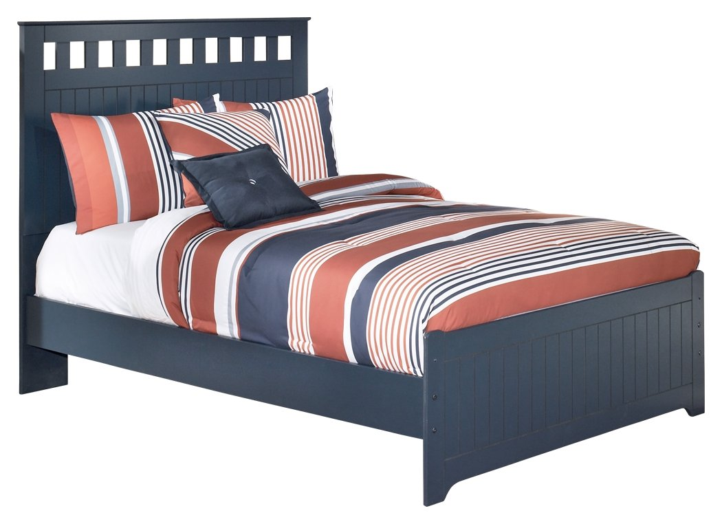 Ashley Furniture Signature Design - Leo Kids Bedset with Headboard & Footboard - Childrens Full Size Panel Bed - Navy Blue by Ashley Furniture