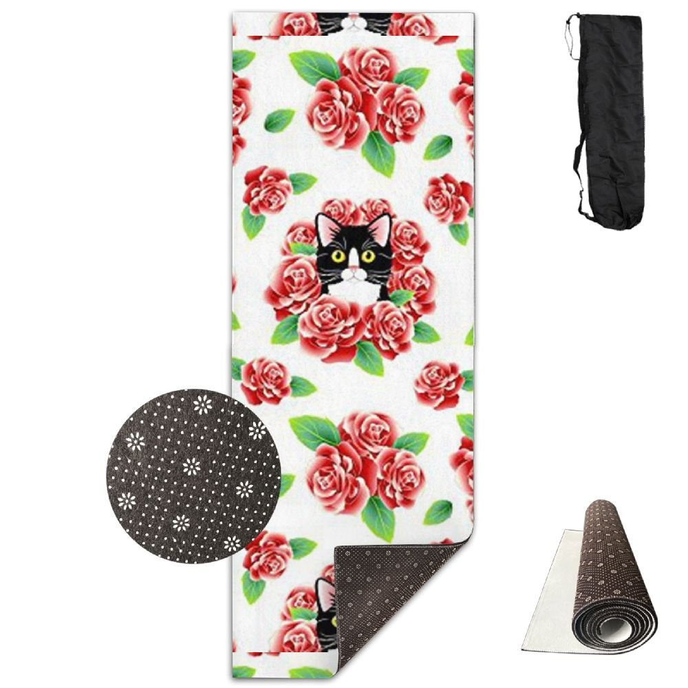 KJDHAPI2 Tuxedo Cat And Roses Single Side Print Yoga Mat With Carrying Strap For Fitness,Travel And Yoga Class