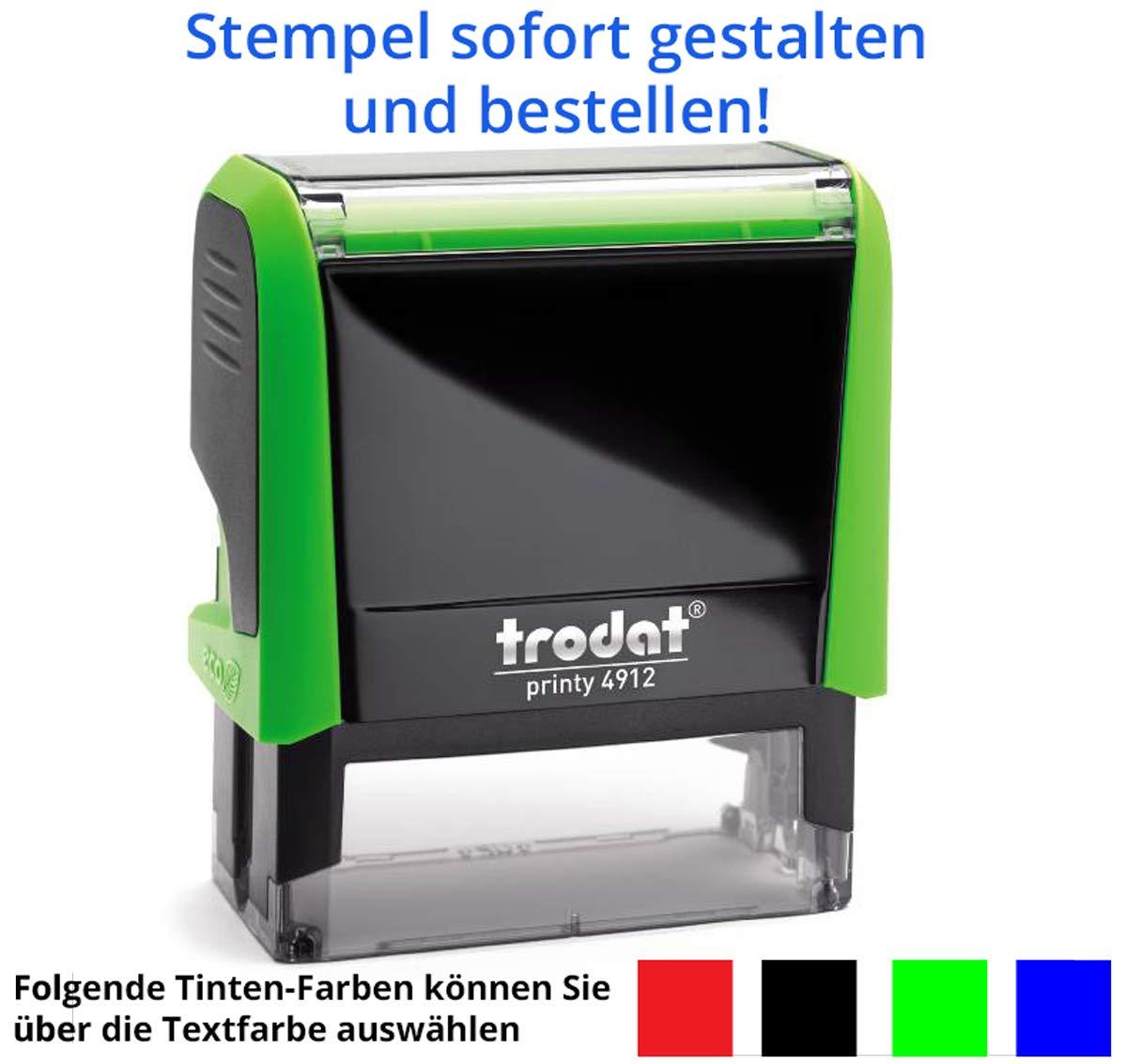 f/ür 5 Zeilen gleich Online gestalten!!! Stempel Trodat Printy 4912 47x18 mm rot in verschiedenen Farben