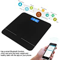 Bluetooth Body Fat Scale,Electric Bluetooth Weight Scale with Digital LCD Display IOS and Android App Smart Wireless Digital Bathroom Scale for Body weight, Body Fat, Water, Muscle Mass, BMI, BMR, Bon