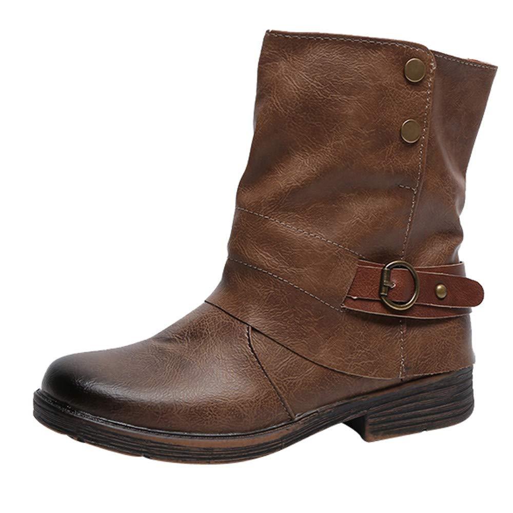 Bottillons Plats Hiver Femmes,Overmal 2018 Mode Retro Solide Cuir Martin Bottes Rond Orteil Épaisse Plate-Forme Boots Sauvage Chaussures Plus Velvet Chaud Party Shoes