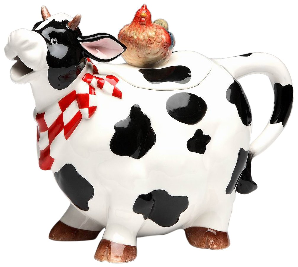 "CDM product ATD 61737 9"" Black and White Cow with Chicken Top Collectible Teapot big image"