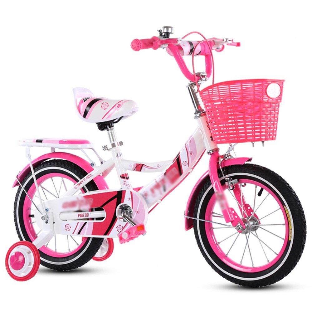 PJ 自転車 バスケット付きガールズバイク、トレーニングホイール付き12,14,16,18インチのガールズバイク、子供用のギフト、女の子の自転車 子供と幼児に適しています (色 : ピンク ぴんく, サイズ さいず : 12インチ) B07CR8BLSK 12インチ|ピンク ぴんく ピンク ぴんく 12インチ