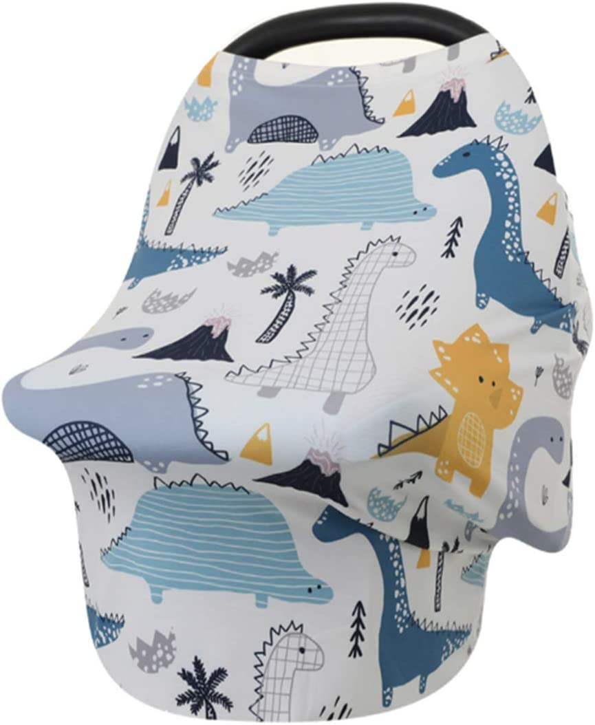 YOHA Premium Soft Cotton Baby Car Seat Cover Canopy Multi-Fuction Breastfeeding Nursing Cover Grocery Shopping Cart Stroller High Chair Cover Elephant
