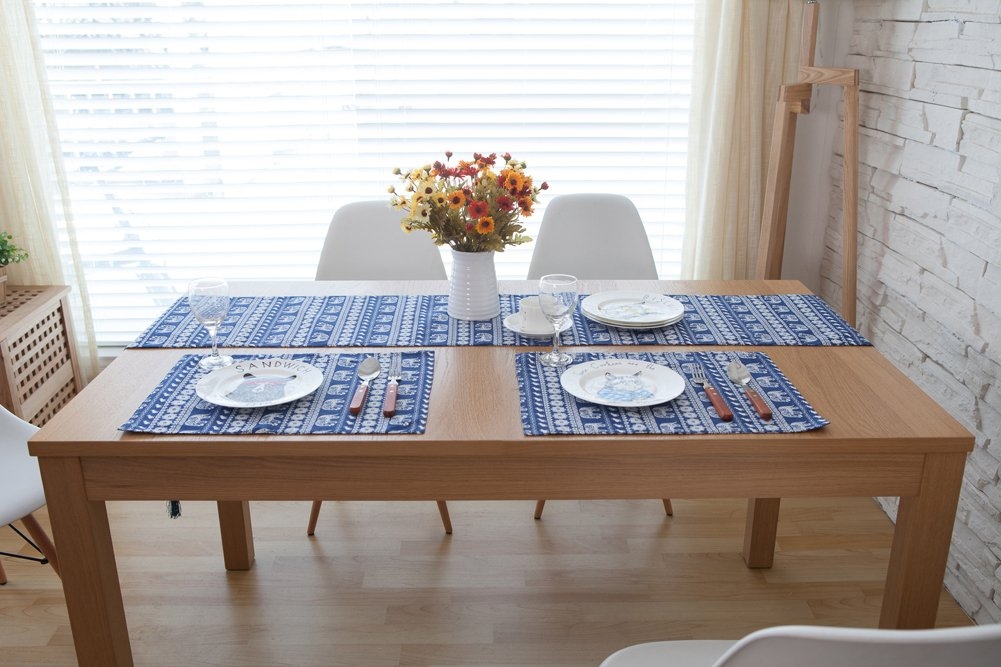 CHEZMAXボヘミアンスタイル地中海コットンリネンリバーシブル表ランナーパーティー宴会テーブル装飾象ブルー11.9 CM x 70.9