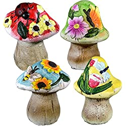 Miniature Fairy Garden Mushroom Gnome Statue Decorations Figurines and Sculptures For Indoor Outdoor Yard Lawn And Patio Home Supplies Accessories Set of 4